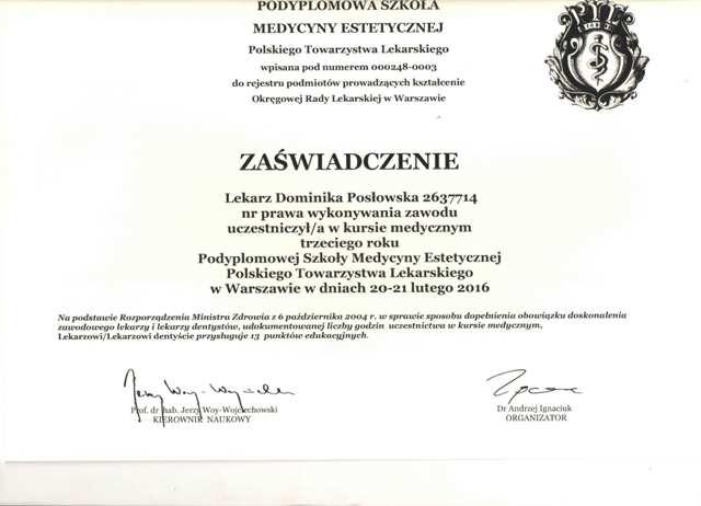 Certyfikat Dr Dominika Posłowska
