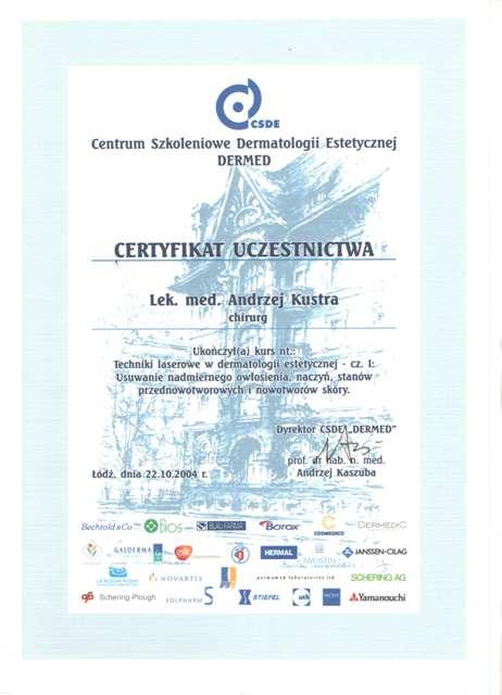 Certyfikat Dr Andrzej Kustra